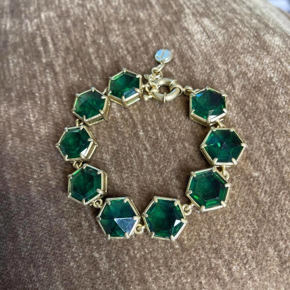 Talbots emerald green crystal bracelet gold toned